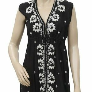 Free People Floral Embroidered Fable Boho Dress S